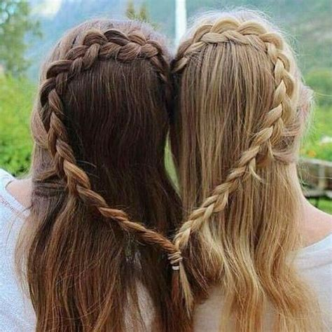hair styles made into hearts best friends braid hair hair goals image 4347387 by