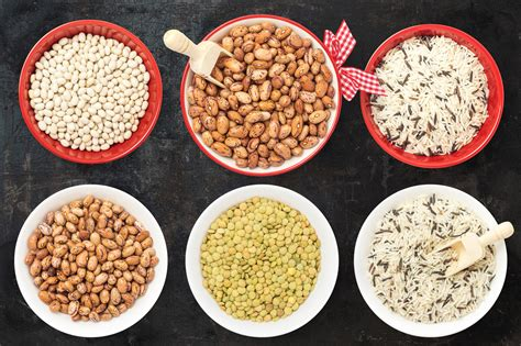 isolated food items nuts seeds grains beans