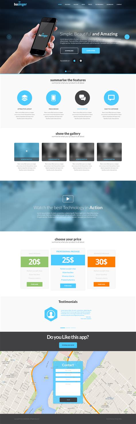 free html landing page template free bazinger landing page template psd titanui