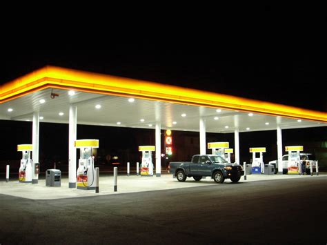 station with lights improve safety with gas station led lighting