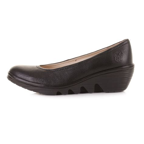 womens fly black leather wedge heel