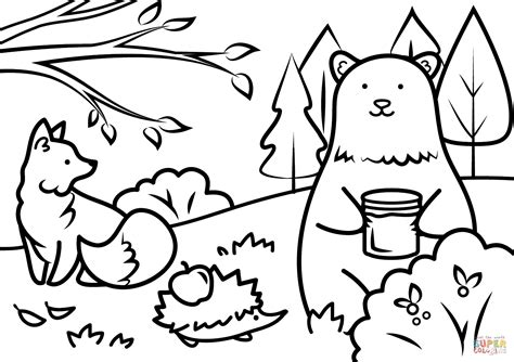free printable fall themed coloring pages autumn animals coloring page free printable coloring pages