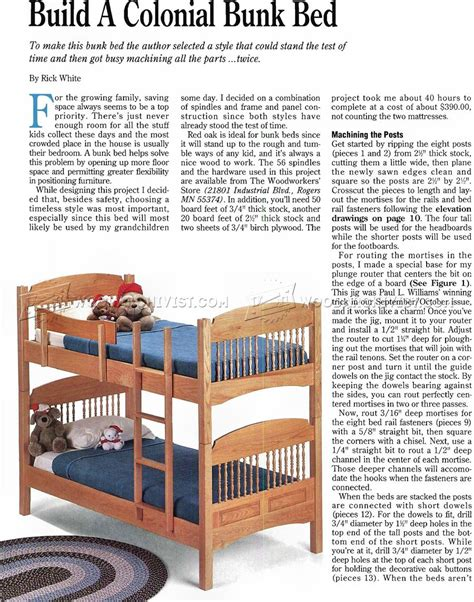 kids bed plans colonial bunk bed plans woodarchivist