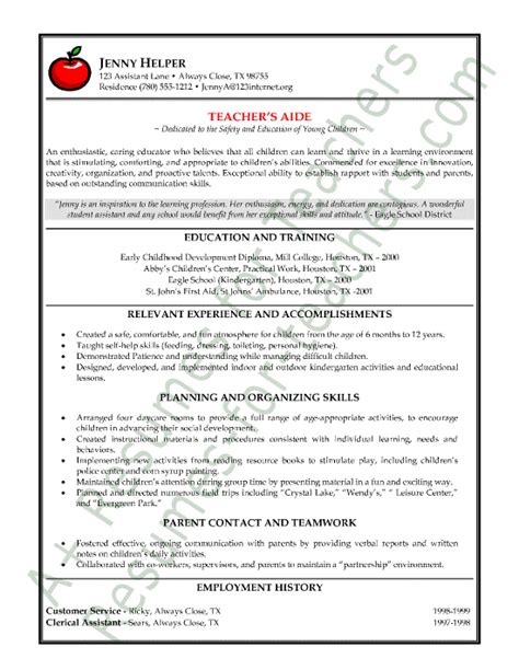exles of teachers resume s aide or assistant resume sle or cv exle