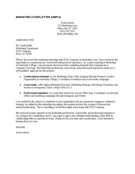 marketing internship cover letter templates