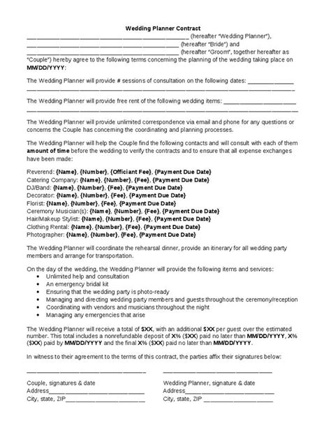event management contract sample awesome ideas collection wedding