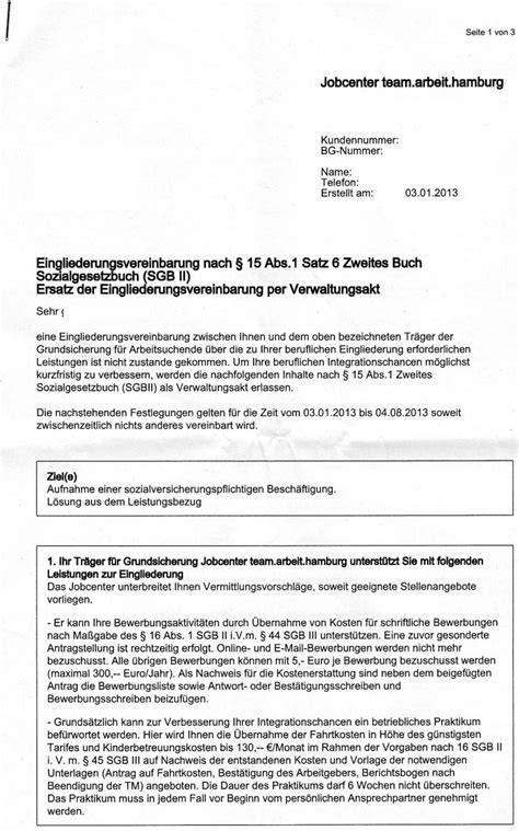 Bewerbung Schreiben Muster Jobcenter Eingliederungsvereinbarung Egv Und Verwaltungsakt Unzul 228 Ssige Entrechtung Sch 228 Bels