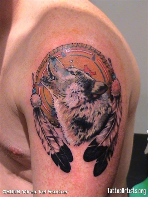wolf and dreamcatcher tattoo 37 graceful catcher shoulder tattoos