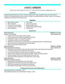 Resume Exles Mechanic Diesel Mechanic Resume Sle My Resume