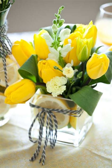 yellow flower arrangements centerpieces 17 best ideas about tulip centerpieces wedding on