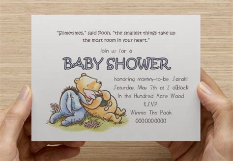 Classic Winnie The Pooh Baby Shower Invites by Classic Winnie The Pooh Baby Shower Invitation Print Your
