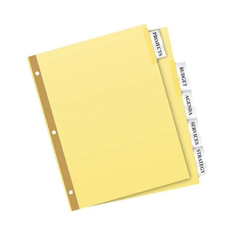 avery big tab 5 tab template avery 11110 big tab insertable dividers 8 1 2 x 11 quot 5