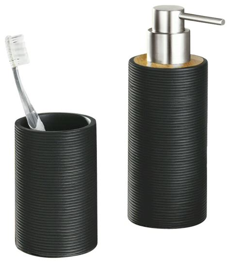Modern Bamboo Bathroom Accessories Bamboo Bath And Spa Accessory Set Matte Black Modern
