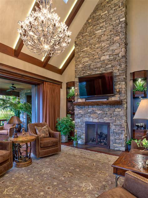 stone fireplace  tv houzz