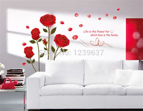 wall stickers for living room romantic red rose flowers wall decals living room bedroom