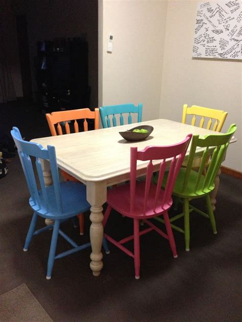 Colourful Dining Table And Chairs Pin By Sher Tankersley On Diy