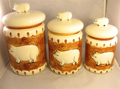 pig kitchen canisters vntg 1983 set of 3 canister the decorative kitchen pig by