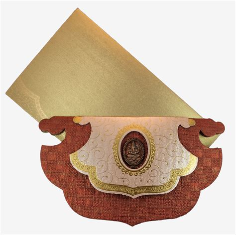 Handmade Indian Wedding Cards - pankha shaped hindu wedding card design in handmade paper