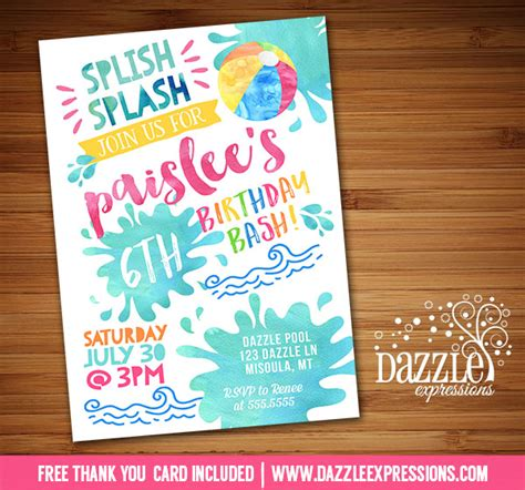 free printable thank you cards swimming printable watercolor pool party birthday invitation
