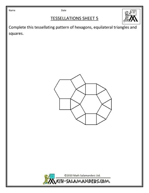 tessellation pattern worksheet tesselations alowemath