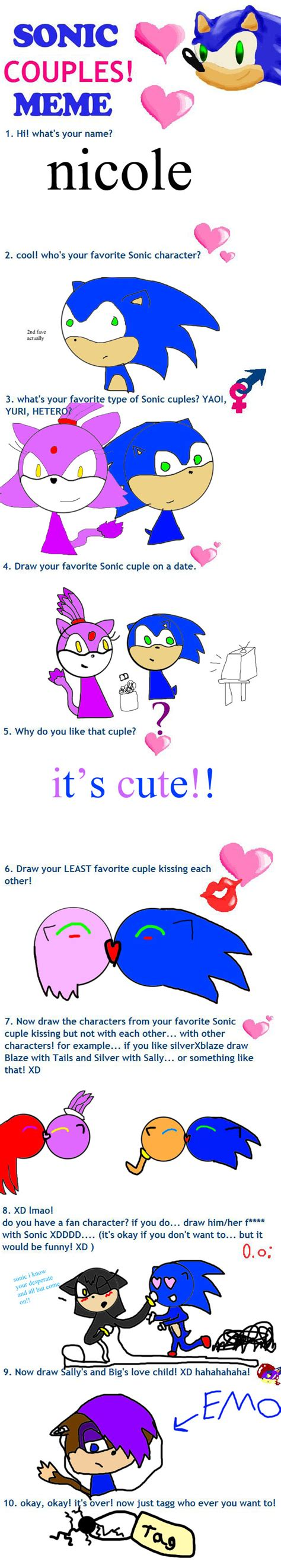 Sonic Couples Meme - sonic couples meme by bunnyinthebox on deviantart