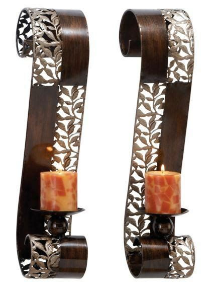Modern Candle Wall Sconces by 2 Modern Candle Wall Sconce Holder Set Metal Pair Decor