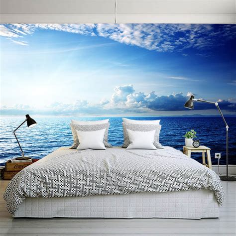 buy wall mural aliexpress buy blue sky seaside cloud diy nature wallpaper 3d wall mural rolls hotel