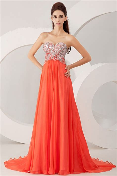 Bright Coral Prom Dresses - a line strapless bright coral chiffon beaded