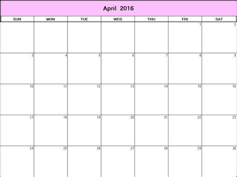 April Calendar Template 2016