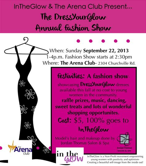 fashion show ticket template dressyourglow fashion show at the arena club sunday to