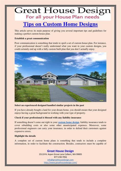 custom home design tips ppt tips on custom home designs powerpoint presentation