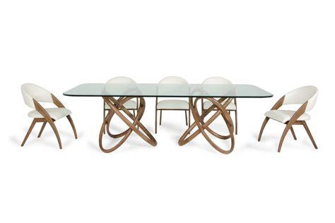 modrest modern glass walnut dining table