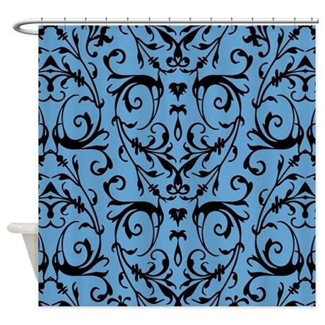 blue and black shower curtains blue and black damask pattern shower curtain by artandornament