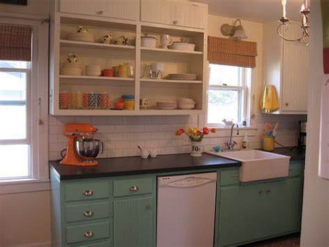 paint old kitchen cabinets before after a white kitchen gets a colorful makeover