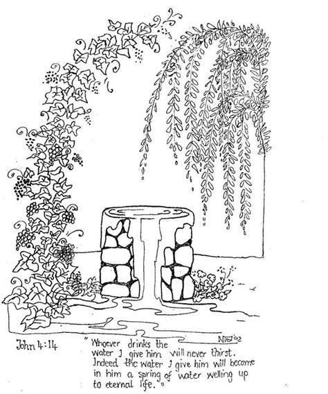 coloring page water well jesus is the living water woman at the well