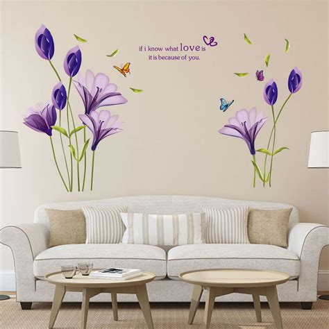 Hanging Lavender Wall Sticker Am7014 removable large wall stickers purple flower wall quote sticker room decor ebay