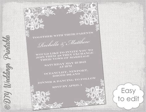digital invitation cards templates wedding invitation template diy quot floral lace quot wedding