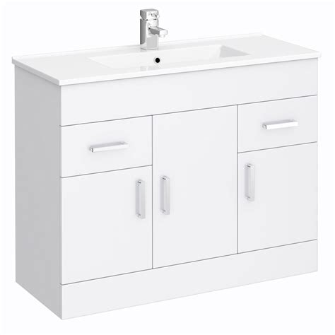 turin high gloss white vanity unit bathroom suite w1500 x