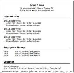 blank printable resume form