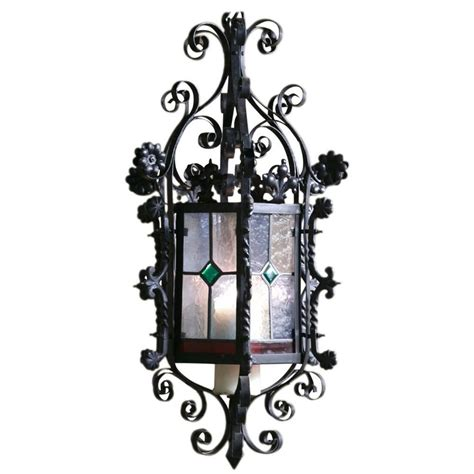 wrought iron lantern chandelier wrought iron lantern chandelier with stained glass for