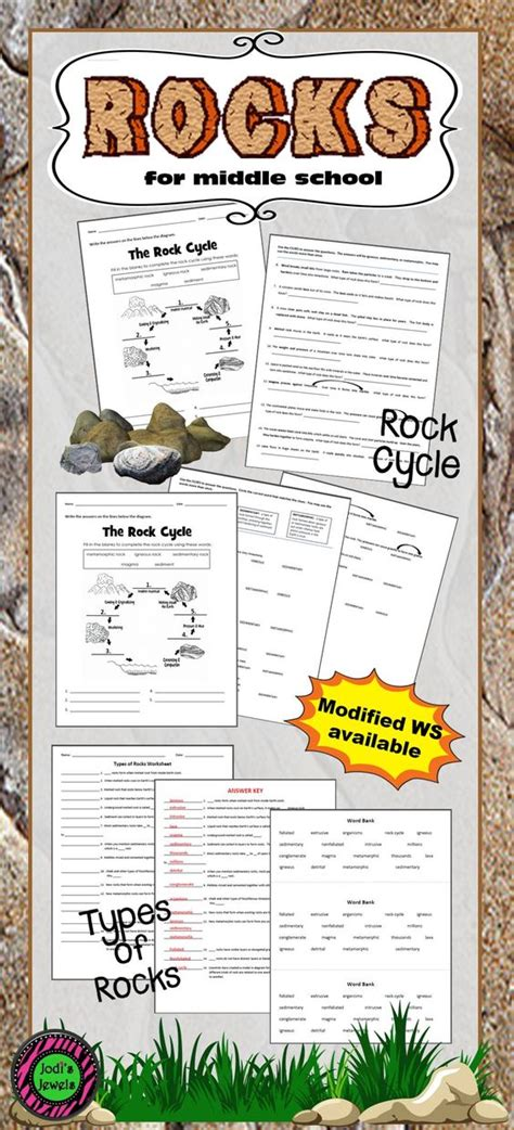 add worksheets about types of rocks and the rock cycle to