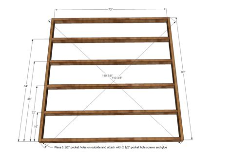 King Size Bed Frame Dimensions Work Witk Wood Design Popular Free Plans Bed Frame