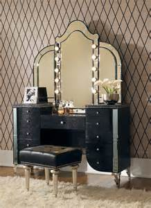 Makeup Vanity Mirror Set Swank 3 Vanity Set In Black Traditional
