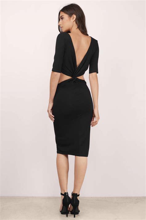 Dress Black Twis black dress twist back dress half sleeve black dress