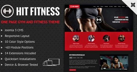 Hit Fitness And Gym One Page Joomla Template Download New Themes Fitness Landing Page Templates