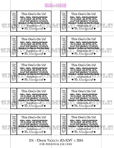 Drink Tickets Diy Wedding Printable Instant Download Digital Wedding Drink Tickets Template