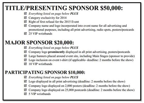 Sponsorship Letter With Packages image result for sponsorship levels letter pta