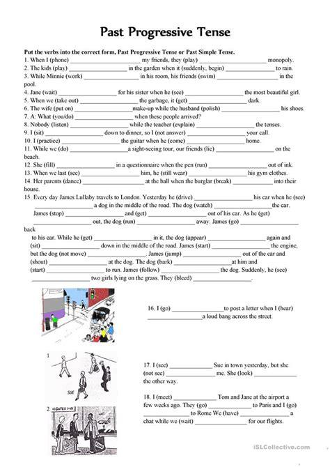 Past Progressive Tense Worksheets Printable