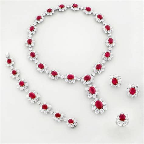 Ruby Jewelry by Ruby And 18k White Gold Parure Gorgeous