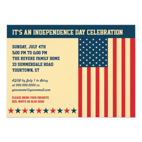 Invitation Letter Format Independence Day Independence Day Horizontal Invitation 4 5 Quot X 6 25 Quot Invitation Card Zazzle